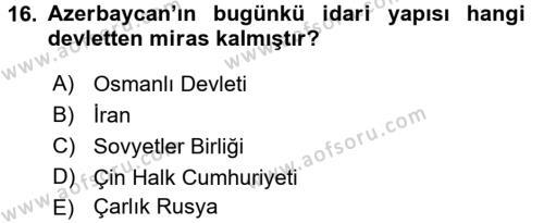 Çağdaş Türk Dünyası Dersi Dönem Sonu Sınavı Deneme Sınav Soruları 16. Soru