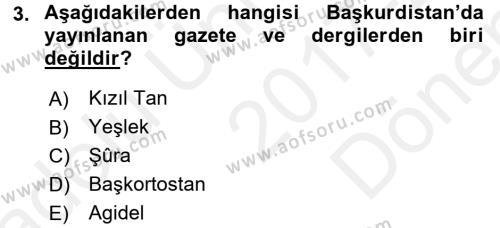 Çağdaş Türk Dünyası Dersi Dönem Sonu Sınavı Deneme Sınav Soruları 3. Soru