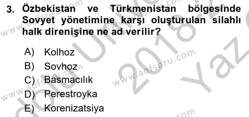 Çağdaş Türk Dünyası Dersi 2018 - 2019 Yılı Yaz Okulu Sınav Soruları 3. Soru