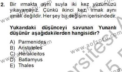 Bilim Tarihi Dersi 2014 - 2015 Yılı Ara Sınavı 2. Soru