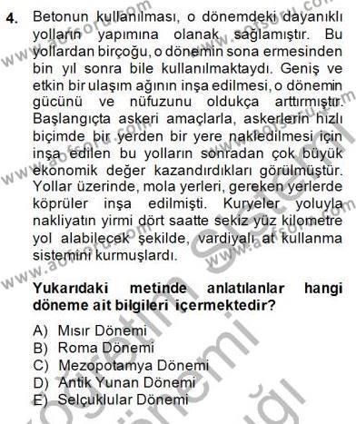 Bilim Tarihi Dersi 2014 - 2015 Yılı Ara Sınavı 4. Soru