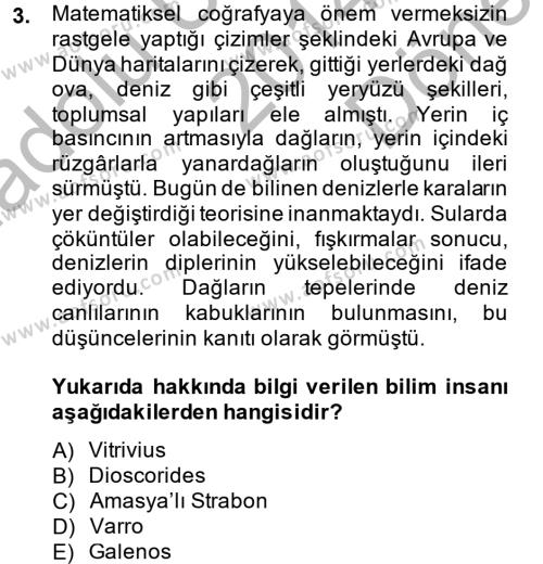 Tarih Bölümü 8. Yarıyıl Bilim Tarihi Dersi 2015 Yılı Bahar Dönemi Dönem Sonu Sınavı 3. Soru