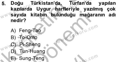 Tarih Bölümü 8. Yarıyıl Bilim Tarihi Dersi 2015 Yılı Bahar Dönemi Dönem Sonu Sınavı 5. Soru