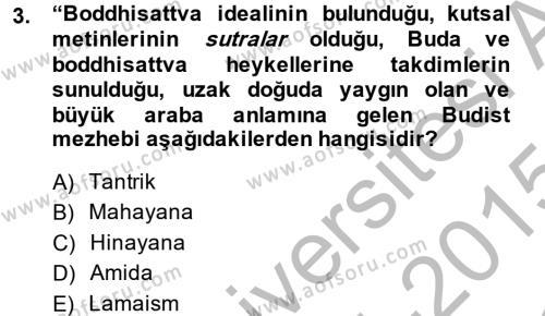 Tarih Bölümü 7. Yarıyıl Yaşayan Dünya Dinleri Dersi 2015 Yılı Güz Dönemi Dönem Sonu Sınavı 3. Soru