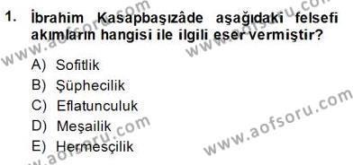 Tarih Bölümü 8. Yarıyıl Türk Düşünce Tarihi Dersi 2015 Yılı Bahar Dönemi Ara Sınavı 1. Soru