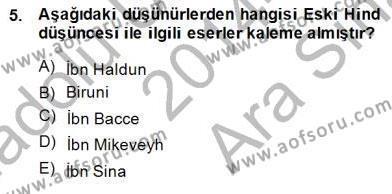 Tarih Bölümü 8. Yarıyıl Türk Düşünce Tarihi Dersi 2015 Yılı Bahar Dönemi Ara Sınavı 5. Soru