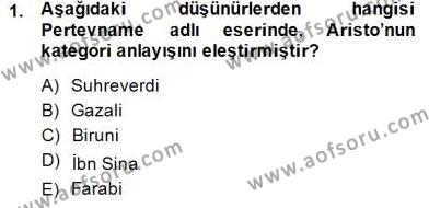Tarih Bölümü 8. Yarıyıl Türk Düşünce Tarihi Dersi 2015 Yılı Bahar Dönemi Dönem Sonu Sınavı 1. Soru