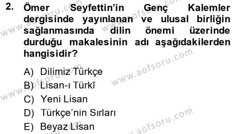 Türk Basın Tarihi Dersi 2014 - 2015 Yılı (Vize) Ara Sınav Soruları 2. Soru