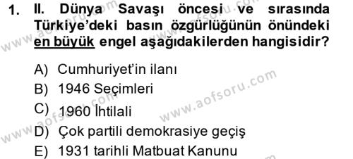 Tarih Bölümü 7. Yarıyıl Türk Basın Tarihi Dersi 2015 Yılı Güz Dönemi Dönem Sonu Sınavı 1. Soru