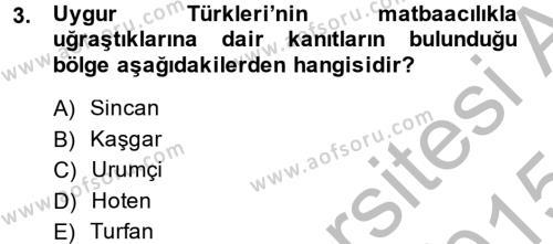 Tarih Bölümü 7. Yarıyıl Türk Basın Tarihi Dersi 2015 Yılı Güz Dönemi Dönem Sonu Sınavı 3. Soru