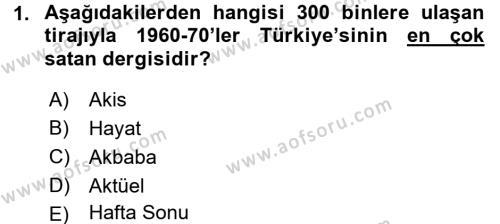 Tarih Bölümü 7. Yarıyıl Türk Basın Tarihi Dersi 2016 Yılı Güz Dönemi Dönem Sonu Sınavı 1. Soru