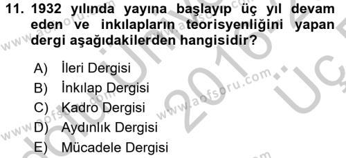 Türk Basın Tarihi Dersi 3 Ders Sınavı Deneme Sınav Soruları 11. Soru