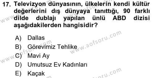 Türk Basın Tarihi Dersi 3 Ders Sınavı Deneme Sınav Soruları 17. Soru