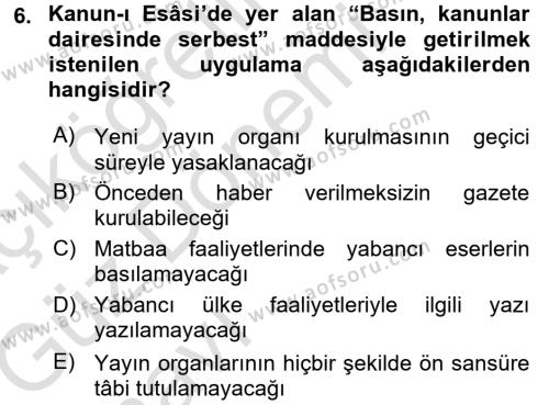 Türk Basın Tarihi Dersi Ara Sınavı Deneme Sınav Soruları 6. Soru