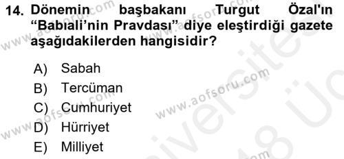 Türk Basın Tarihi Dersi 3 Ders Sınavı Deneme Sınav Soruları 14. Soru
