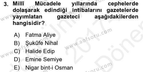 Türk Basın Tarihi Dersi 2017 - 2018 Yılı (Final) Dönem Sonu Sınav Soruları 3. Soru