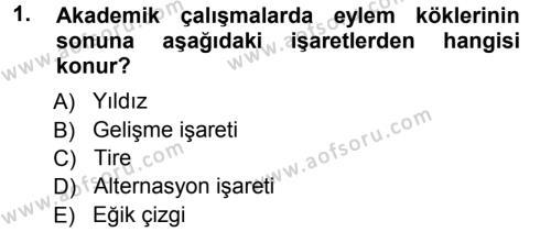 Türk Dili ve Edebiyatı Bölümü 1. Yarıyıl Türkçe Ses Bilgisi Dersi 2013 Yılı Güz Dönemi Ara Sınavı 1. Soru