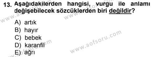 Türkçe Ses Bilgisi Dersi Ara Sınavı Deneme Sınav Soruları 13. Soru