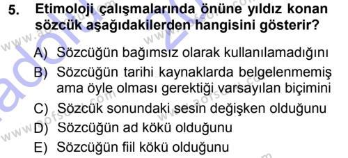 Türk Dili ve Edebiyatı Bölümü 1. Yarıyıl Türkçe Ses Bilgisi Dersi 2015 Yılı Güz Dönemi Ara Sınavı 5. Soru