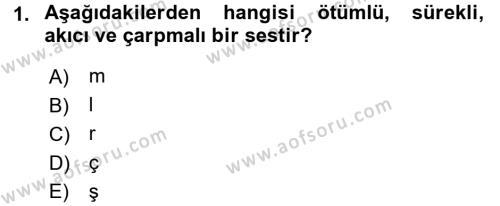Türk Dili ve Edebiyatı Bölümü 1. Yarıyıl Türkçe Ses Bilgisi Dersi 2016 Yılı Güz Dönemi Dönem Sonu Sınavı 1. Soru