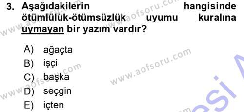 Türk Dili ve Edebiyatı Bölümü 1. Yarıyıl Türkçe Ses Bilgisi Dersi 2016 Yılı Güz Dönemi Dönem Sonu Sınavı 3. Soru