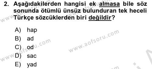 Türkçe Ses Bilgisi Dersi 2016 - 2017 Yılı (Vize) Ara Sınav Soruları 2. Soru