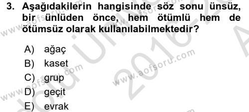 Türkçe Ses Bilgisi Dersi 2016 - 2017 Yılı (Vize) Ara Sınav Soruları 3. Soru