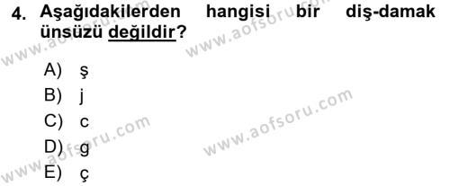 Türkçe Ses Bilgisi Dersi 2016 - 2017 Yılı (Vize) Ara Sınav Soruları 4. Soru