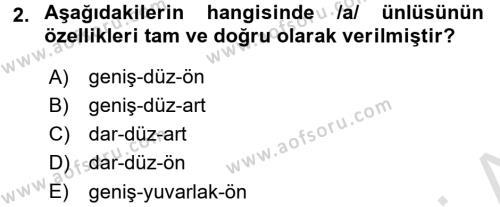 Türkçe Ses Bilgisi Dersi 2017 - 2018 Yılı (Vize) Ara Sınav Soruları 2. Soru