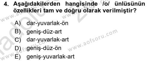 Türkçe Ses Bilgisi Dersi 2017 - 2018 Yılı (Vize) Ara Sınav Soruları 4. Soru