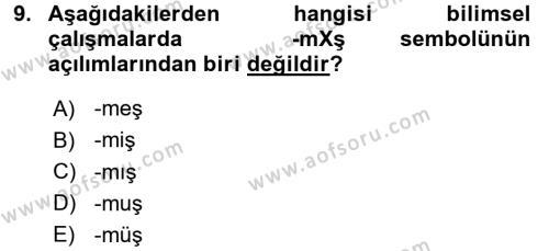 Türkçe Ses Bilgisi Dersi Ara Sınavı Deneme Sınav Soruları 9. Soru