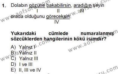 Türkçe Biçim Bilgisi Dersi 2012 - 2013 Yılı (Final) Dönem Sonu Sınav Soruları 1. Soru