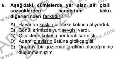 Türk Dili ve Edebiyatı Bölümü 2. Yarıyıl Türkçe Biçim Bilgisi Dersi 2014 Yılı Bahar Dönemi Ara Sınavı 5. Soru