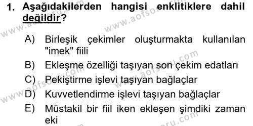 Türkçe Biçim Bilgisi Dersi 2017 - 2018 Yılı (Final) Dönem Sonu Sınav Soruları 1. Soru