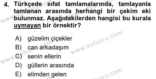 Türkçe Biçim Bilgisi Dersi 2017 - 2018 Yılı (Final) Dönem Sonu Sınav Soruları 4. Soru