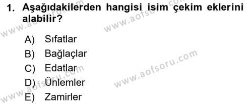 Türkçe Biçim Bilgisi Dersi 2018 - 2019 Yılı (Vize) Ara Sınav Soruları 1. Soru