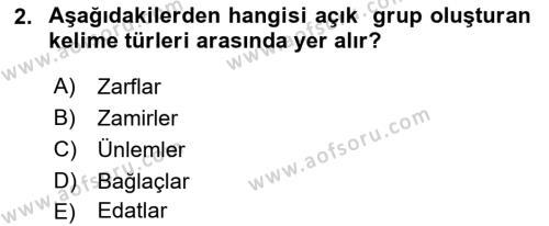 Türkçe Biçim Bilgisi Dersi 2018 - 2019 Yılı (Vize) Ara Sınav Soruları 2. Soru