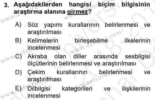 Türkçe Biçim Bilgisi Dersi 2018 - 2019 Yılı (Vize) Ara Sınav Soruları 3. Soru