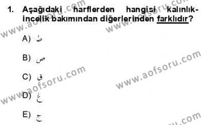 Osmanlı Türkçesine Giriş 1 Dersi 2012 - 2013 Yılı Dönem Sonu Sınavı 1. Soru