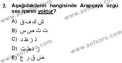 Osmanlı Türkçesine Giriş 1 Dersi 2012 - 2013 Yılı Dönem Sonu Sınavı 2. Soru