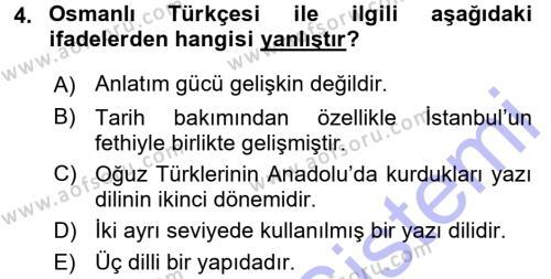 Osmanlı Türkçesine Giriş 1 Dersi 2015 - 2016 Yılı Dönem Sonu Sınavı 4. Soru