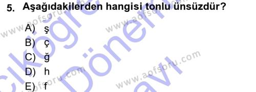 Türk Dili ve Edebiyatı Bölümü 1. Yarıyıl Osmanlı Türkçesine Giriş I Dersi 2016 Yılı Güz Dönemi Dönem Sonu Sınavı 5. Soru