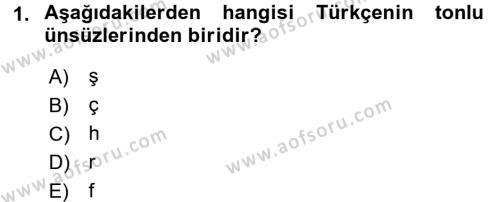 Osmanlı Türkçesine Giriş 1 Dersi 2016 - 2017 Yılı (Final) Dönem Sonu Sınav Soruları 1. Soru