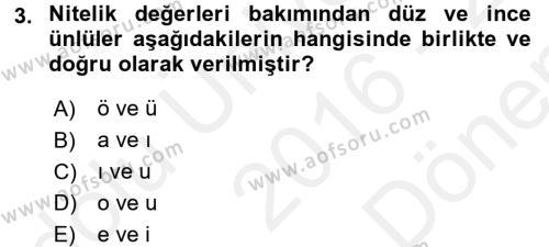 Osmanlı Türkçesine Giriş 1 Dersi 2016 - 2017 Yılı (Final) Dönem Sonu Sınav Soruları 3. Soru