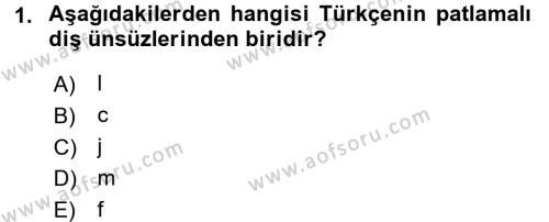 Osmanlı Türkçesine Giriş 1 Dersi 2017 - 2018 Yılı (Final) Dönem Sonu Sınav Soruları 1. Soru