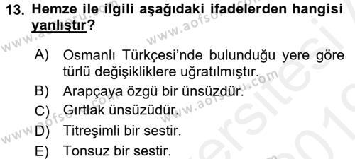 Osmanlı Türkçesine Giriş 1 Dersi Ara Sınavı Deneme Sınav Soruları 13. Soru