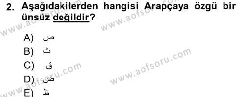 Osmanlı Türkçesine Giriş 1 Dersi 2018 - 2019 Yılı (Final) Dönem Sonu Sınav Soruları 2. Soru