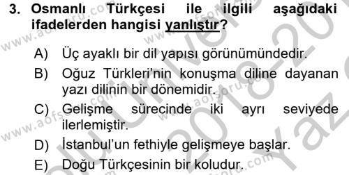 Osmanlı Türkçesine Giriş 1 Dersi 2018 - 2019 Yılı Yaz Okulu Sınav Soruları 3. Soru