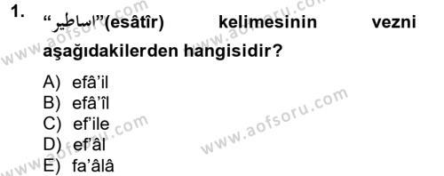 Türk Dili ve Edebiyatı Bölümü 2. Yarıyıl Osmanlı Türkçesine Giriş II Dersi 2013 Yılı Bahar Dönemi Ara Sınavı 1. Soru