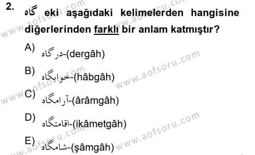 Osmanlı Türkçesine Giriş 2 Dersi 2012 - 2013 Yılı (Vize) Ara Sınav Soruları 2. Soru